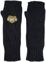 Dolce And Gabbana Crown Fingerless Gloves Metallic