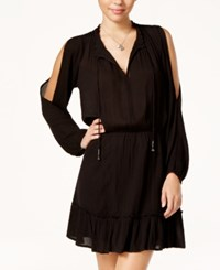 Jessica Simpson Ruffled Cold Shoulder Peasant Dress Black