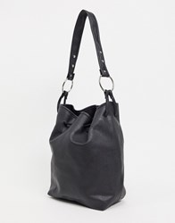 French Connection Tote Handbag With Metal Hardware Detail Black