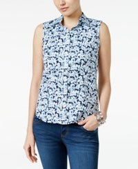 Charter Club Sleeveless Floral Print Shirt Only At Macy's Smokey Sky Combo