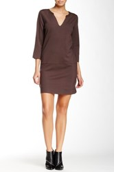 Glam Split V Neck Dress Brown