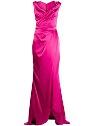 Talbot Runhof Draped Long Dress Pink