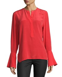 Equipment Kanley Bell Sleeve Silk Shirt Red