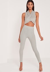 Missguided Carli Bybel Faux Suede Panel Leggings Grey Grey
