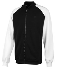 Champion Men's Powerblend Zip Fleece Sweatshirt Black White