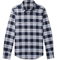 Tom Ford Micky Checked Cotton Flannel Shirt Blue
