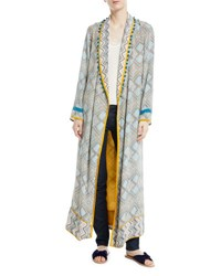 Talitha Collection Print Robe Coat With Rope Belt And Pompom Trim Blue Pattern