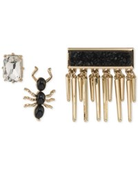 Abs By Allen Schwartz Gold Tone 3 Pc. Set Crystal Ant And Druzy Pins