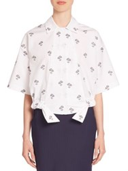 Victoria Beckham Cotton Cropped Daisy Print Shirt Daisy White Black