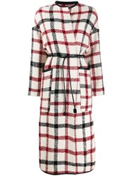 8Pm Check Print Belted Coat 60