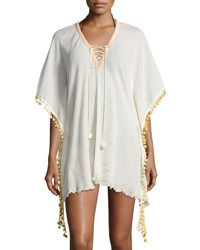Elan Lace Up Neckline Cotton Coverup Off White