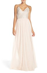 Hayley Paige Occasions Women's Metallic Lace And Tulle Spaghetti Strap Gown Silver Almond
