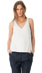 Tibi Leather V Neck Tank