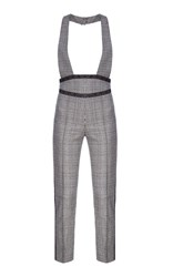 Flow The Label Plaid Wool Suspender Pants Grey
