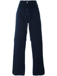 Marios Short Back Straight Trousers Blue