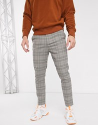 Mennace Tapered Trousers In Check Beige