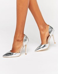 Public Desire Keely Clear Detail Silver Court Shoes Silver White
