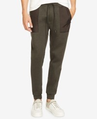 Kenneth Cole New York Men's Slim Fit Mixed Media Jogger Pants Charcoal Heather