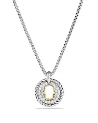 David Yurman Cable Collectibles Hamsa Charm Necklace With Diamonds With 18K Gold White Gold