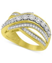 Macy's Diamond Crisscross Statement Ring 1 5 Ct. T.W. Ring In 14K Gold Plated Sterling Silver Yellow Gold
