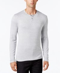 Alfani Collection Men's Heather Long Sleeve Henley Classic Fit Smooth Silver Combo