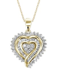 Macy's Diamond Heart Pendant Necklace 1 2 Ct. T.W. In 18K Gold Over Sterling Silver