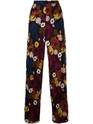 Alice Olivia Flower Embroidered Trousers Black
