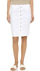 Blank Button Up Denim Skirt White Broney
