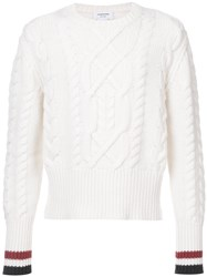 Thom Browne Aran Cable Knit Crewneck Pullover In White Merino Wool