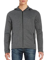 Kenneth Cole Ottoman Knit Hooded Striped Jacket Charcoal Heather