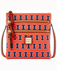 Dooney And Bourke Illinois Fighting Illini Triple Zip Crossbody Bag Orange