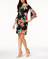 Jessica Howard Floral Print Bell Sleeve Dress Black Multi