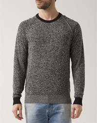 Diesel Black And Gray Marled Collins Crew Neck Sweater