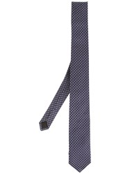 Saint Laurent Polka Dot Jacquard Tie Blue