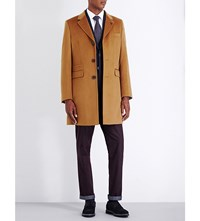 Ted Baker Endurance Wool And Cashmere Blend Overcoat Camel