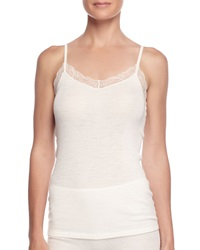 Hanro Lace Trimmed Wool Blend Camisole Pale Cream