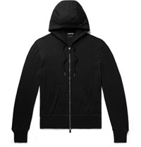 Tom Ford Slim Fit Cotton Silk And Cashmere Blend Zip Up Hoodie Black