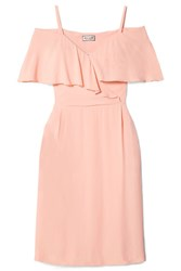 Paul And Joe Severiny Cold Shoulder Ruffled Crepe Midi Dress Pastel Pink Usd