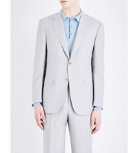 Canali Tailored Fit Wool And Linen Blend Jacket Lt Grey