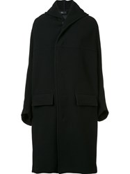 Y's Oversized Hooded Coat Black