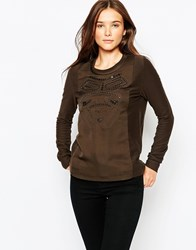See U Soon Long Sleeve Top With Front Placket Detail Khaki
