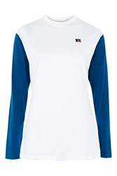 Topshop Long Sleeve Jersey T Shirt By Russell Athletic White