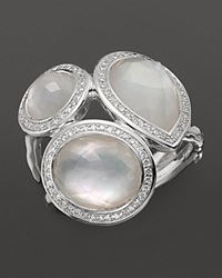 Ippolita Sterling Silver Stella Ring In Mother Of Pearl Doublet With Diamonds Silver White
