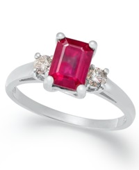 Macy's 14K White Gold Ring Ruby 1 1 5 Ct. T.W. And Diamond 1 5 Ct. T.W. Emerald Cut 3 Stone Ring