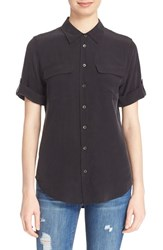 Women's Equipment 'Slim Signature' Short Sleeve Silk Shirt True Black