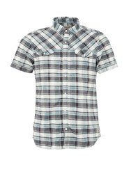 Garcia Cotton Check Print Shirt Light Blue