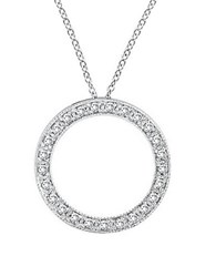 Morris And David 14K White Gold Diamond Pave Circle Pendant 0.25 Tcw
