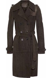 Magda Butrym Kansas City Leather Paneled Suede Trench Coat Chocolate