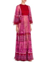 Valentino Flutter Sleeve Maxi Dress Fuchsia