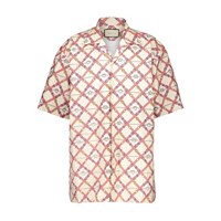 Gucci Paper Feel Oversize Bowling Shirt Ivory Red